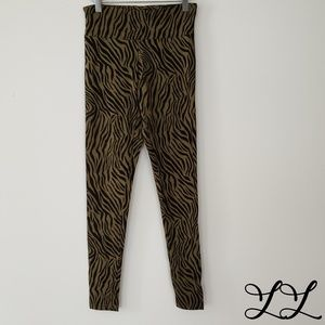 Cotton On Leggings Zebra Print Green Black Stripes